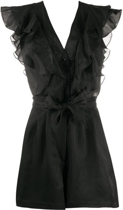 Sandro Paris Ruffled Ramie Playsuit