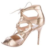 Monique Lhuillier Metallic Lace-Up Sandals