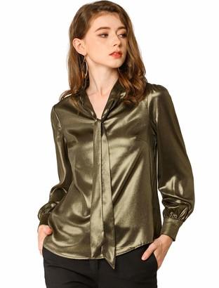 Allegra K Women's Sparkly Metallic Work Office Shirt Long Sleeve Tie Neck Business Shiny Blouse Top L Gold