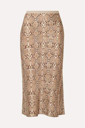 Anine Bing Bar Snake-print Silk-charmeuse Midi Skirt - Snake print