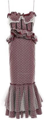 Brock Collection Fluted Ruffled Swiss-dot And Taffeta Midi Dress
