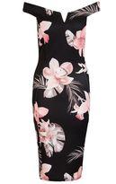 Quiz Black Flower Print Bardot Bodycon Dress