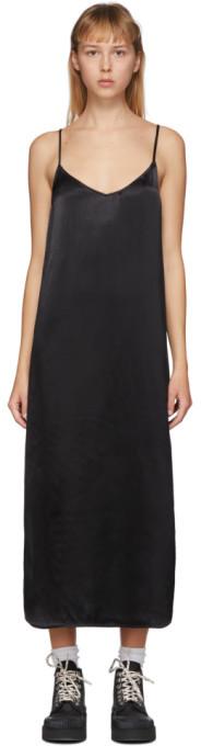 Ganni Black Heavy Satin Slip Dress