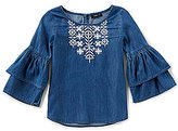 Takara Big Girls 7-16 Chambray Embroidered Bell Sleeve Top