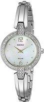 Seiko Women's SUP287 Solar Bangle Analog Display Japanese Quartz Silver Watch