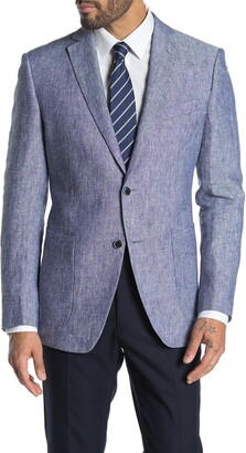 John Varvatos Baxter Blue Solid Two Button Notch Lapel Jacket
