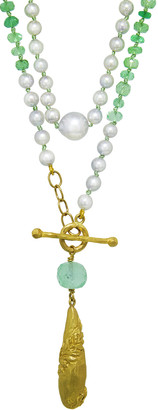 Cathy Waterman 19.30 Carat Emerald and Silver Akoya Pearl Vine Wrapped Breaulette Necklace
