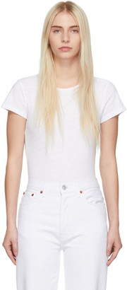 RE/DONE White 1960s Slim Tee Bodysuit