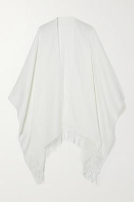 Rag & Bone Fringed Cotton And Wool-blend Wrap - White