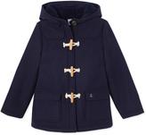 Petit Bateau Girls duffel coat in wool broadcloth