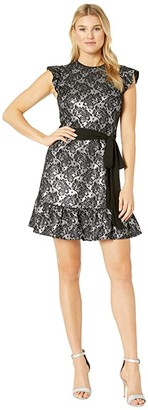 MICHAEL Michael Kors Flutter Sleeve Foil Dress (Black/Silver) Women's Dress