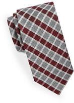 Black Brown 1826 Classic Plaid Print Tie