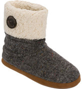 Dearfoams Women's Sparkle Tweed Bootie with Button Cuff Slipper