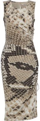 Roberto Cavalli Ruched Snake-print Silk Crepe De Chine Dress
