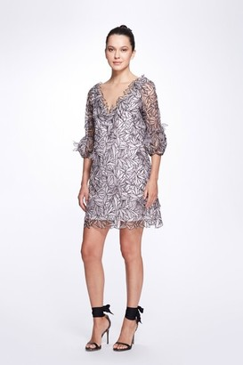 Marchesa Notte Sleeve V-Neck Embroidered Organza Cocktail Dress
