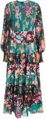 Zimmermann Tiered Floral-print Linen Midi Dress