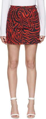 Calvin Klein Black and Red Denim Zebra Skirt