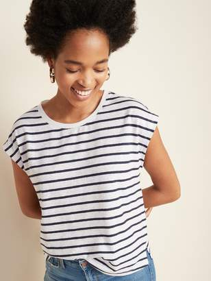 Old Navy Linen-Blend Jersey Cap-Sleeve Tee for Women