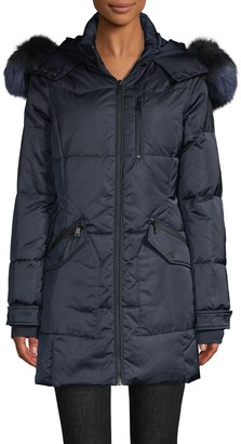 1 Madison Fox Fur-Trim Quilted Down Parka Coat