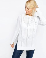 Asos Sweater with Mesh Detail in Structured Yarn with Side Splits