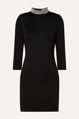 Alice + Olivia Inka Open-back Crystal-embellished Cady Mini Dress - Black