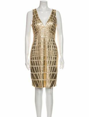 Naeem Khan Printed Knee-Length Dress Gold