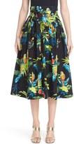 Marc Jacobs Women's Parrot Print Cotton Poplin Full Skirt