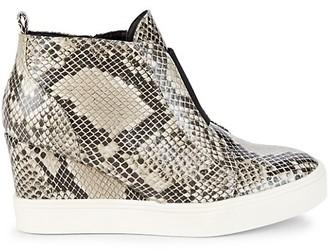 Mia Cristie Python-Print Wedge Sneakers