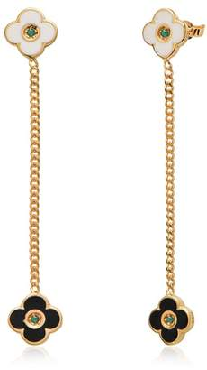 GABIRIELLE JEWELRY 14K Yellow Gold Vermeil CZ Accented Double Enamel Flower Chain Drop Earrings
