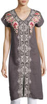 Johnny Was Christine Front-Slit Linen Dress, Gray, Petite