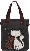 Bestqueen Vintage Canvas Shoulder Bag Cute 9D Cat Handbags Size Tote Bags for Women