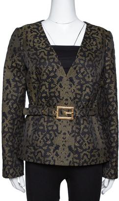 Gucci Black & Beige Python Pattern Cotton & Silk Belted Jacket M
