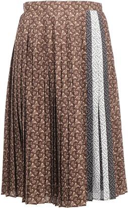 Burberry Pleated Monogram Striped Midi Skirt