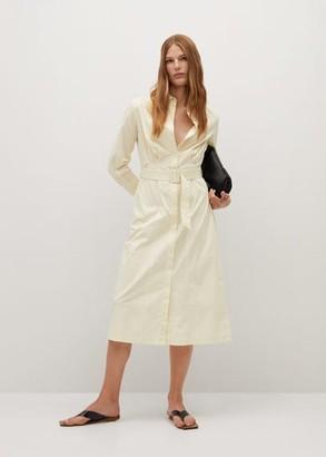 MANGO Cotton shirt dress beige - 4 - Women