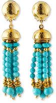 Jose & Maria Barrera Turquoise Beaded Tassel Earrings
