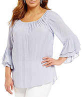 Gibson & Latimer Plus Striped Bell Sleeve Blouse