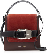 Proenza Schouler Buckle Trapeze Suede-Paneled Leather Bag
