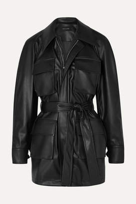 Low Classic Belted Faux Leather Jacket - Black