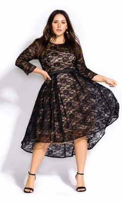 City Chic Lace Lover Dress in Black Size 14/X-Small Polyester