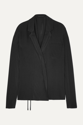 Haider Ackermann Wrap-effect Draped Silk Crepe De Chine Top - Black