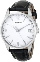 Movado Men's 0606569 Circa Black Crocodile-Embossed Leather Strap Watch