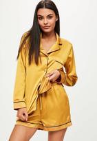 Missguided Gold Satin Piping Detail Pyjama Short Set, Gold