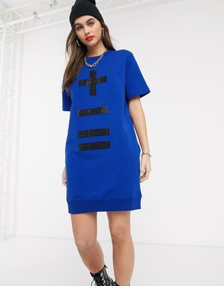 Love Moschino more or less jumper dress-Blue