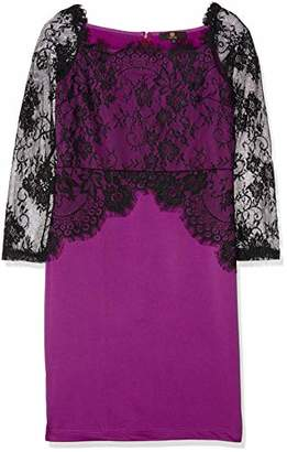 Party Lace dress - Women's Sexy Floral Lace Pencil Bodycon Evening Cocktail Party Formal Off Shoulder Long Sleeve UK12 size L