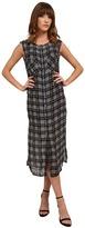 Michael Stars Plaid Print Georgette Sleeveless Button Up Dress