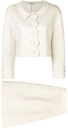 Valentino Pre-Owned scalloped detailing skirt suit