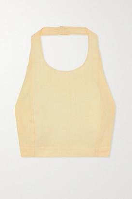 Le Kasha + Net Sustain X Lg Electronics Cropped Open-back Organic Linen Halterneck Top - Pastel yellow