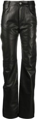 Telfar Straight-Leg Leather Trousers