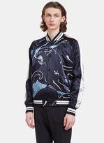 Valentino Men's Panther Print Satin Bomber Jacket In Navy