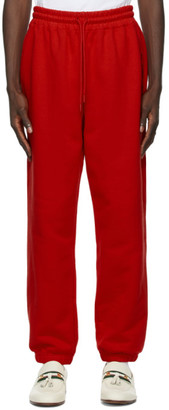 SSENSE WORKS SSENSE Exclusive Jeremy O. Harris Red Cursive Text Lounge Pants